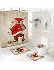 Christmas Shower Curtains Sets for Bathroom,4 Pcs Xmas Decorations with Bath Rugs , Washable Non-Slip Mats and Waterproof Bathtub Curtain with Hooks for Bath Decor (Red Santa Claus)