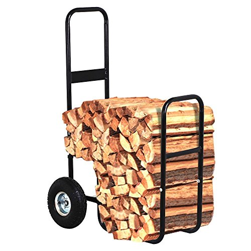 go2buy Indoor/Outdoor Firewood Log Carrier Fireplace Wood Rack Dolly Rolling Fire Storage Cart, 27.95 x 19.29 x 42.91'' (LxWxH), Black