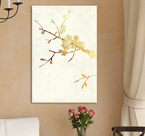 wall26 - Canvas Wall Art - Vintage Style Golden Cherry Blossom - Giclee Print Gallery Wrap Modern Home Decor Ready to Hang - 12x18 inches