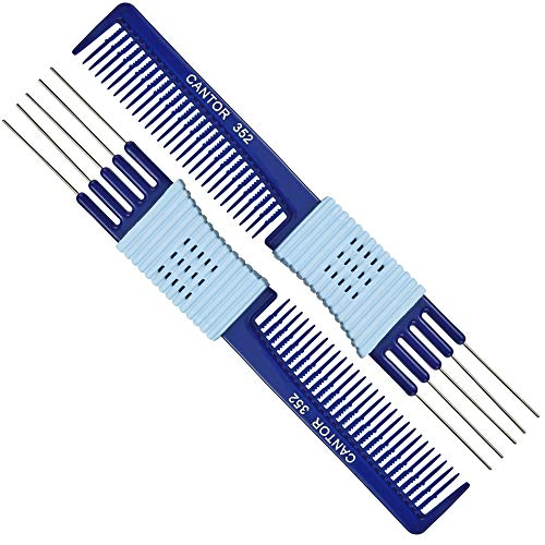 Lift Teasing Comb and Hair Pick - 2 Pack, Five Stainless Still Lifts - Chemical and Heat Resistant Detangler Gripper Comb - Anti Static Comb For All Hair Types - By Cantor