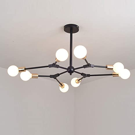 Sputnik Industrial Black Led Chandelier Rotate E26 Pendant