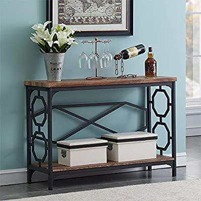 "O&K Furniture Entryway Table with Storage Shelf, Rustic Narrow Sofa Console Table for Living Room, Hallway (Brown Finish) - 【Versatile Console Table】: Spacious tabletop provide plenty of space for your favorite collectibles or every day necessities, the bottom shelf adds an extra space to display ornamentation and store your sundries. 【Suitable Size】: Assembly Dimensions: 43.3"" W x 15.7"" D x 30"" H; Bottom Shelf: 40.9"" (W) x15"" (D) x 0.6"" (H); The distance between shelves: 22"". 【Reliable Construction】: This sofa table crafted from 1.2"" thick MDF board (not solid wood) and sturdy metal which ensures stability and durability. - living-room-furniture, living-room, console-tables - 51WvH7G mBL. SS400  -"