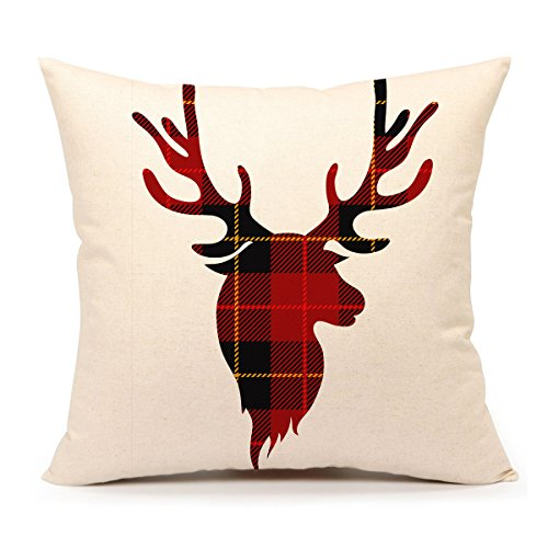 Red Black Buffalo Plaids Deer Throw Pillow Cover Christmas Cushion Case Winter Home Decorative 18 x 18 Inch Cotton Linen