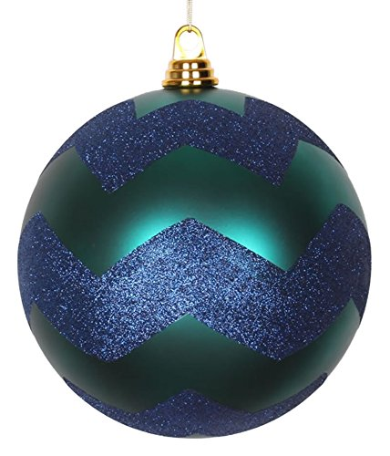 Vickerman Teal Green Matte with Sea Blue Glitter Chevron Commercial Size Christmas Ball Ornament, 8'' by Vickerman