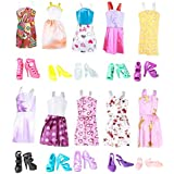 """Keysse Lot 25 Items = 15 Sets Fashion Casual Wear Party Dress for Girl Doll Random Style and 10 Pair Shoes Fit for (11. 0""""-11. 8"""") Dolls"""