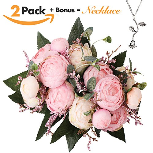 Artificial Flowers – Silk Peony Bouquet with Realistic Green Foliage and Leaves – Ideal for use as Wedding Flowers, Event Flowers or Home Décor – Vintage Style – Includes FREE Silver Plated Necklace