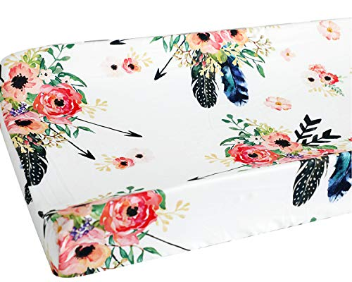 Sahaler Baby Girl Floral Crib Bedding Floral Changing Pad Cover (Feather)