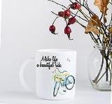 11 ounce Coffee Mug - Make Life a Beautiful Ride - Vintage Bike with Flowers