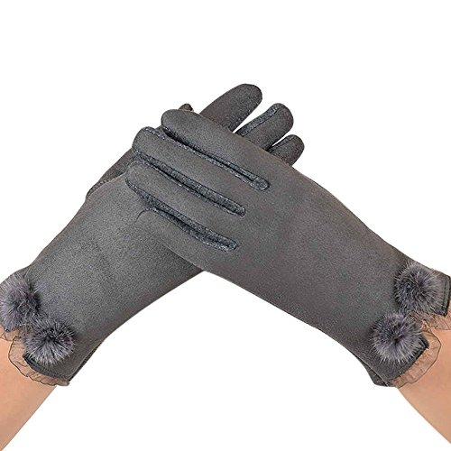NRUTUP Women Velvet Warm Glove Soft Wrist Thick Mitten Full Finger Glove Hot Sale!(Grey,free size)