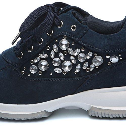 Blu Casual Eco Sneakers Sport MForshop Strass Pelle Scamosciata Scarpe Stringata Donna h252 xFBwqnqP8f