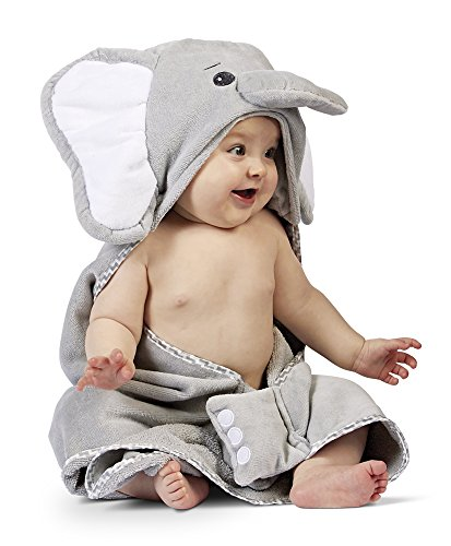 Bearington Baby Lil' Spout Elephant Hooded Bath Towel, 24