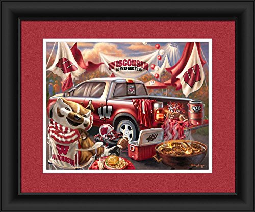 Prints Charming 4865505166 Wisconsin Badgers Tailgate Print Wall Decor - 15 x 18 in. from Prints Charming