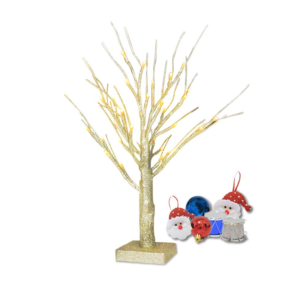 Glitter Twig Tree,OBELON 32 LEDs Warm White Light Sequins Branch Tree Lights Battery Operated Tabletop Tree Lamp 1.8FT High [Free Ornaments] for Christmas Easter Halloween Wedding Party Holiday Decoration - Gold Tree [Energy Class A+++] BAT-L032WW45V