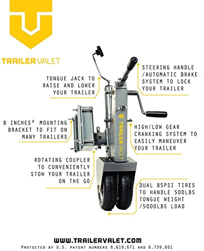 Trailer Valet 5X V211 Tongue Jack Dolly, Silver
