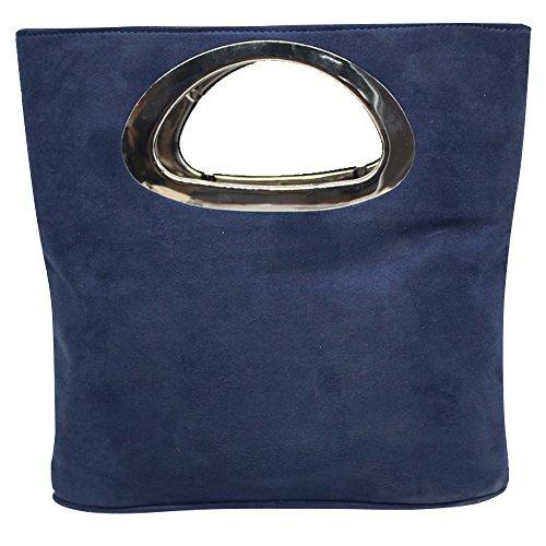 Cckuu Vintage Suede Leather Handbag Evening Purse Clutch Top Handle Tote Bag(Navy Blue) by Cckuu