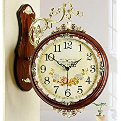 Fengfeng Double Sided Clocks, Modern Pastoral Two-Sided Wood Wall Bell Living Room Mute Creative Fashion Metal Decoration Large Wall Clock (Color : B, Size : 2)