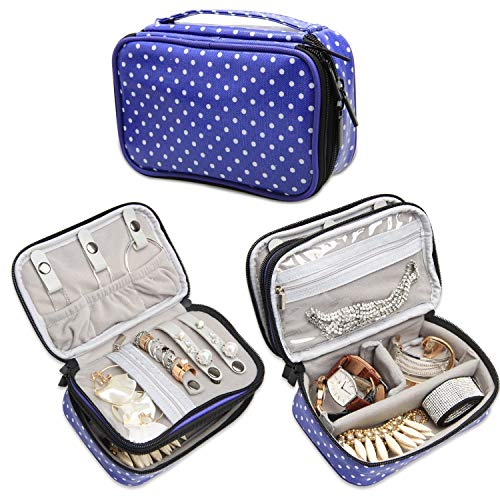 (Teamoy Jewelry Travel Case, Jewelry & Accessories Holder Organizer for Necklace, Earrings, Rings, Watch and More, Roomy, Compact and Portable, Purple Dots)