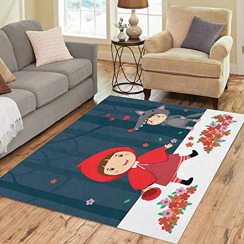 Semtomn Area Rug 5' X 7' Costume of Little Red Riding Hood and Gray Wolf Home Decor Collection Floor Rugs Carpet for Living Room Bedroom Dining Room -