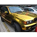 HOHO Gloss Gold Chrome Vinyl Car Wrap Sticker with Air Release for Car Wrapping 60''x98ft Roll