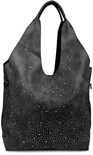 bolsos Camel de bolso señora tipo estrellado dos Negro cielo diseño 002012031 con de Color de bolsa bolsos de «shopper» de conjunto mano en estrás styleBREAKER aplicaciones wS8fAaqxn
