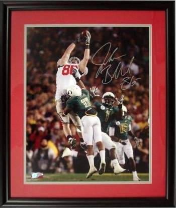 Autographed Jake Ballard Photo - 8x10 Custom Wood Framing 2010 Rose Bowl vs Oregon - Autographed College Photos
