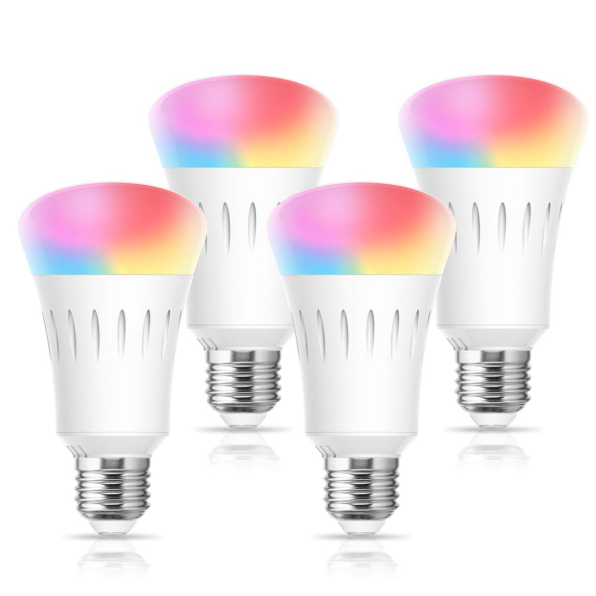 LOHAS Smart LED Light Bulb, WiFi LED Bulb Multicolored Dimmable Smart Lights Work with Alexa, Google Home and Siri (No Hub Required), 810LM 60W LED Bulb Equivalent, A19 LED E26 Base, UL Listed, 4 Pack