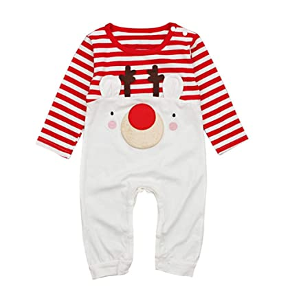 91f489e9c76 Childplaymate Christmas Newborn Baby Cute Elk Stripe Long Sleeve Rompers  Jumpsuit (6-9M)  Amazon.in  Baby