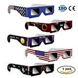 Eclipse Glasses ?Letitfly?, Solar Eclipse Glasses, Eye Glasses for The Eclipse, CE and ISO Certified, 5 Pack, Glasses to View Solor Eclipse, Viewer and Filters Eye Protector For All Ages