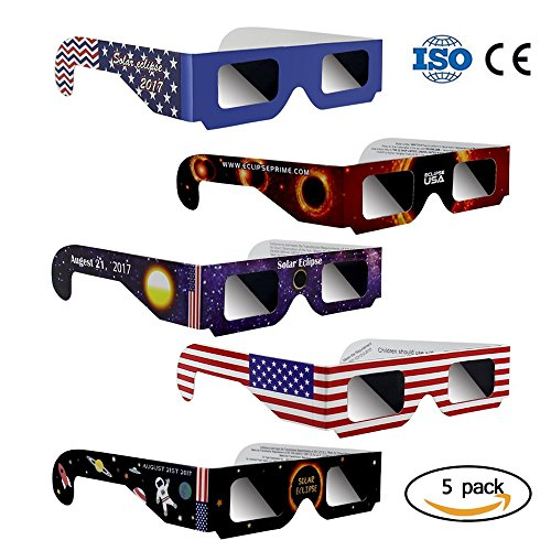 Price comparison product image Eclipse Glasses Letitfly, Solar Eclipse Glasses, Eye Glasses for The Eclipse, CE and ISO Certified, 5 Pack, Glasses to View Solor Eclipse, Viewer and Filters Eye Protector For All Ages