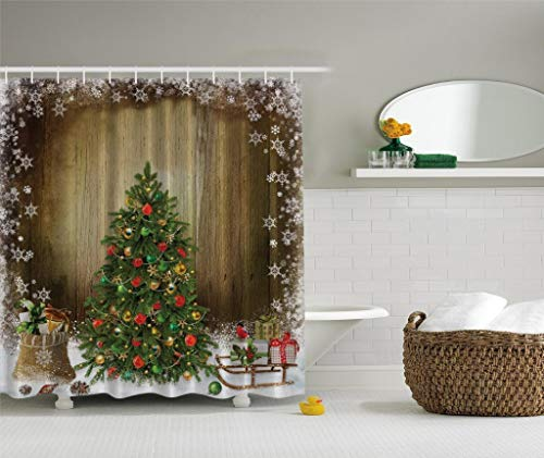 Ambesonne Christmas Tree with Holiday Presents Vintage Style Fabric Shower Curtain Brown Green Red