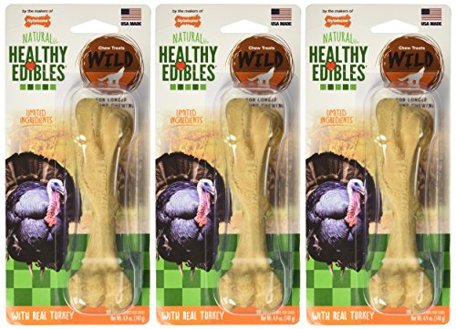 ((3 Pack) Nylabone Healthy Edibles Wild Turkey Treat Bone for Dogs - Size Large )