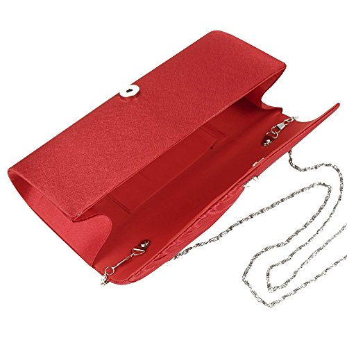 Satin Evening Womens Sparkly Red Purse Cckuu Pleated Clutch White Studded Crystal Handbag wxR4XqcCSX