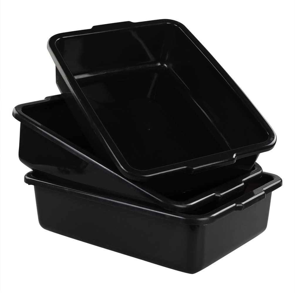 Qsbon Commercial Plastic Bus Box/Tote Box, Black Bus Tub/Wash Basin Tub, Set of 3