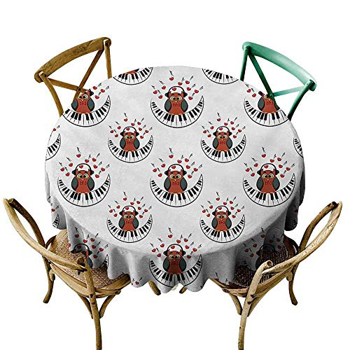 - Zmstroy Washable Table Cloth Owls Musician Pianist Owl with Headphones and Playing a Moon Shaped Piano Clipart Style Indoor Outdoor Camping Picnic D39 Brown Grey Red