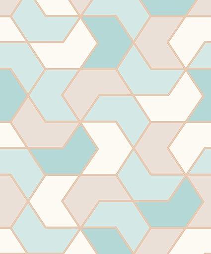 Portfolio Duck Egg Rose Gold Geometric Wallpaper 270327