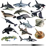 Game, Fun, 16Type Marine organism Model Toy animals in the sea monster The sperm Whale Tiger shark...