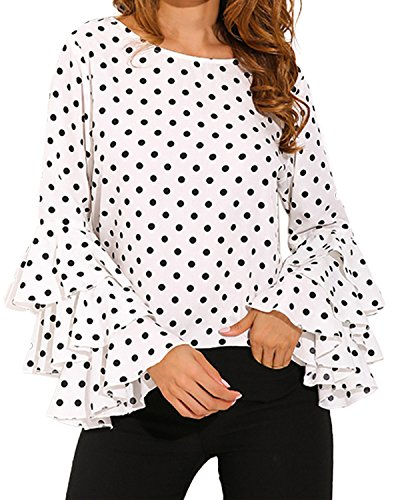 Longues Haut Rond StyleDome Tunique Femme Point Tops Casual Manches Blanc Chemise Shirt Col Elgante ppPSYq