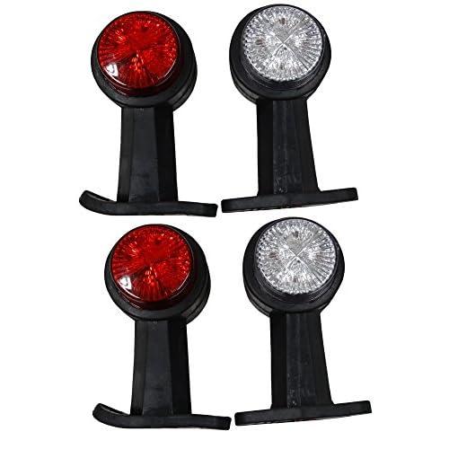 Aerzetix: Lot de 4 Feux de gabarit position 24V à LED rouge / blanc pour camion remorque semi - C2099