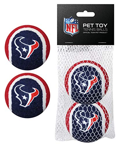 Pets First NFL Houston Texans Tennis Balls for Dogs & Cats - 2 Piece Set with Team Logo in Vibrant Team Color
