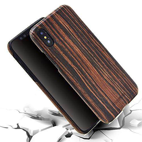 iphone X Wood Case,iPhone 10 wooden Case,SHOWKOO Slim Real Wooden Shockproof Protective iphone Cover for Apple 5.8 In iPhone X (Ebony) by Showkoo (Image #3)