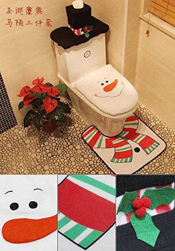 1 Set/3pc Fancy Happy Snowman Toilet Seat Cover Rug Bathroom Set