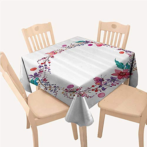 (Watercolor Flower Decor Collection Holiday Tablecloth Flower Wreath with Wildflowers Leaves and Butterfly Image PrintWhite Pink Blue Red Square Tablecloth W70 xL70 inch)