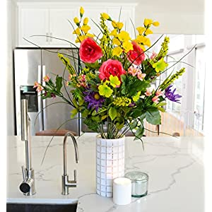 Admired By Nature Artificial Dahlia, Morning Glory & Ranunculus & Blossom Fillers Mixed Bush for Home, Wedding, Restaurant & Office Decoration Arrangement, 30 Stems 2