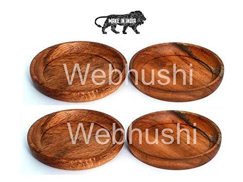 Webhushi's 4 Piece Set, Natural Acacia Wood Coasters, Set of 4 Price & Reviews