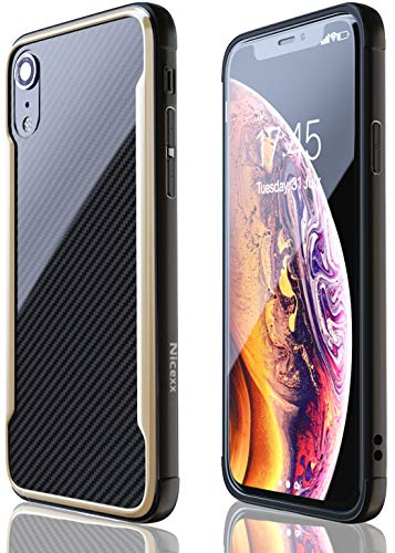 iPhone XR Case   Shockproof   12ft. Drop Tested   Carbon Fiber Case   Wireless Charging   Lightweight   Scratch Resistant   Compatible with Apple iPhone XR - Gold