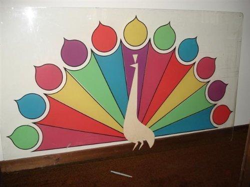 very-rare-nbc-tv-original-11-feathered-multicolored-peacock-trademark-logo-silkscreen-on-large-clear