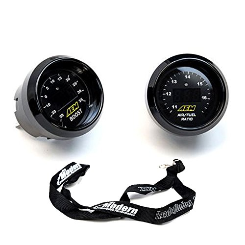 Aem Boost - AEM 2 Gauge Display Set UEGO WideBand Air/Fuel Ratio Gauge + Boost Pressure Gauge -30-35psi + MAPerfomrance Lanyard