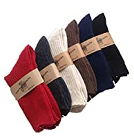 Lian LifeStyle Women's 4 Pairs Knitted Wool Socks One Size 7-10
