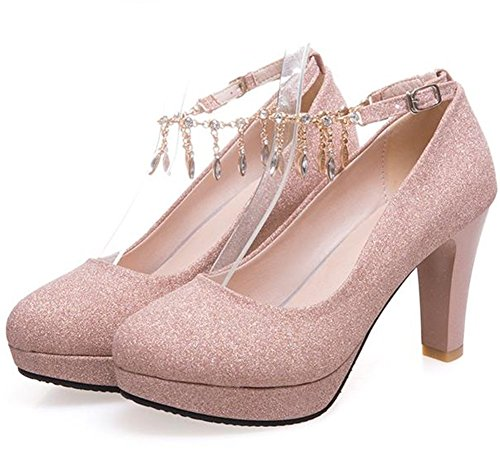 Easemax Womens Tacco Plateau Low Top High Chunky Heel Wrap Pumps Scarpe Con Ciondoli Rosa