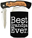 Best Folding Knives Father's Day Gift for Dad Knife Gift for Grandpa Gift for Papa Best Ever Best Buckin' Laser Engraved Folding Pocket Knife with Funny Beer Coolie Gift Set Best Grandpa Ever
